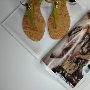 Michael Kors Hamilton Leather Thong Wedge Sandals